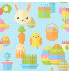 Cute easter seamless pattern in flat vector