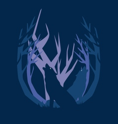 deep in the forest wolf vector image vector image