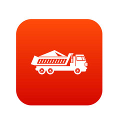 dump track icon digital red vector image