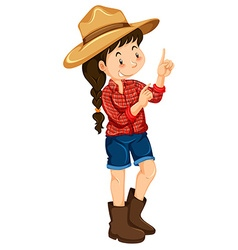 Farm girl wearing red shirt vector image vector image