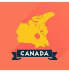 Flat icon with long shadow Canada map vector image vector image