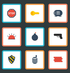 flat icons walkie-talkie gun road sign and other vector image vector image