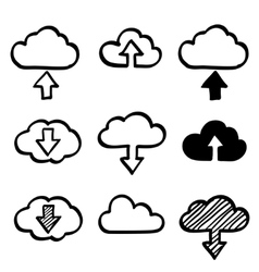 Hand draw doodle cloud shapes collection Icons for vector image vector image