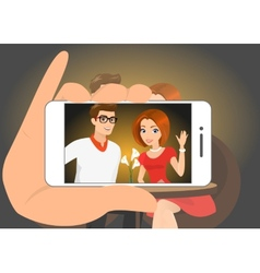 Happy couple is doing selfie of themselves vector