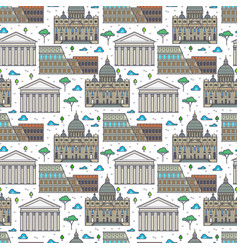 Linear rome famous buildings seamless pattern vector