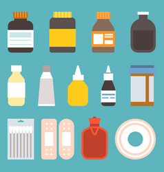 medicine icons in flat style vector image vector image