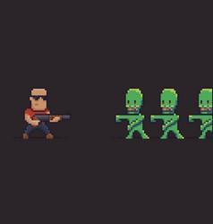 Pixel art zombies vector