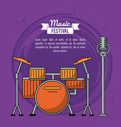 Poster music festival in purple background with vector