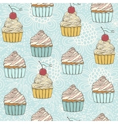 Seamless pattern with beautiful cup cakes vector