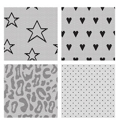 Set of black lace fabric seamless patterns vector image