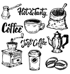 set of coffee hand drawn icons design elements vector image vector image