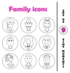 Set of line family icons in round frame vector image vector image