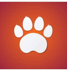 Shiny plastic trace of cat on orange background vector
