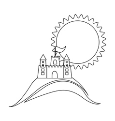 silhouette background beach with sand castle and vector image vector image