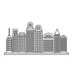 Sketch contour city landscape with buildings vector