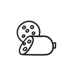 Sliced wurst sketch icon vector