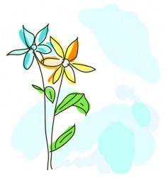 watercolor 2 flowers vector image