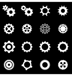 white gear icon set vector image vector image