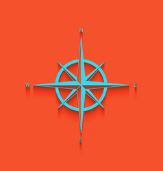 Wind rose sign whitish icon on brick wall vector