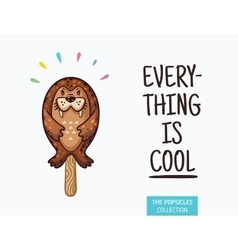 Cute seal popsicle  ice cream vector