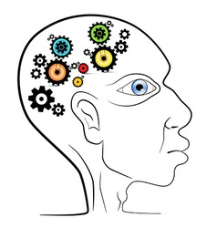 Abstract human head with cogs - gears vector