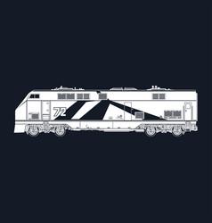 Locomotive on black background vector