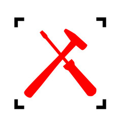 tools sign red icon inside vector image