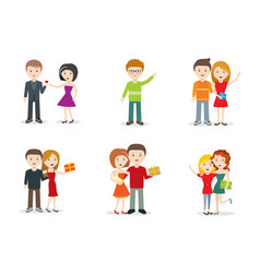 set characters with gifts flat design vector image