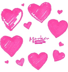 Pink marker painted isolated hearts vector