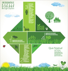 Modern green ecology infographic design vector