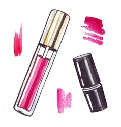 Beautiful watercolor lipstick vector