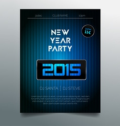 New year party flyer template - dark blue design vector