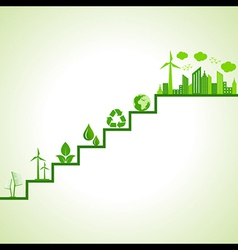 Ecology concept - eco cityscape and icons on stair vector