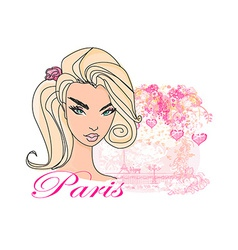 Abstract beautiful woman in paris poster vector