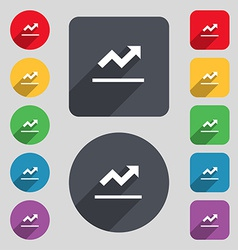 Graph chart diagram icon sign a set of 12 colored vector