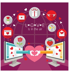 Computer monitor and hands love online concept vector