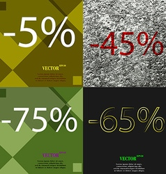 45 75 65 icon set of percent discount on abstract vector