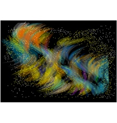 Multicolor wave on black vector