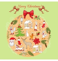 Christmas decoration hand drawn elements vector