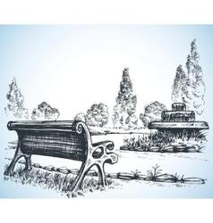 Park sketch a fountain and bench vector image
