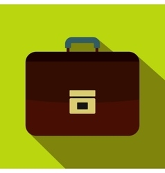 Brown business briefcase icon flat style vector image