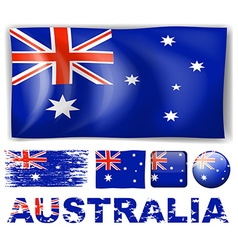 Australia flag in different designs vector image