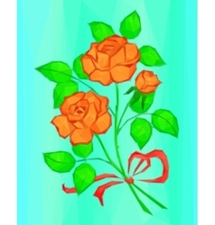 Red and orange rose flowers low poly vector