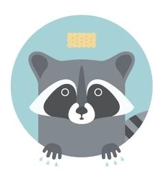 Animal set portrait in flat graphics - raccoon vector