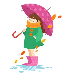 Autumn cartoon girl holding an umbrella vector