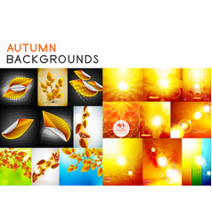 autumn orange and yellow shiny backgrounds set and vector image vector image