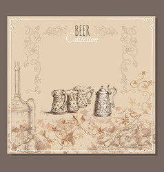 Beer collection cards for the restaurant menu vector image