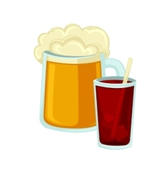 Big mug of beer with foam and glass cola straw vector