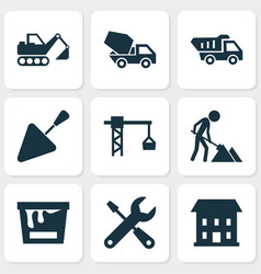 Building icons set collection of truck lifting vector
