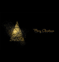 Christmas and new year gold glitter pine tree card vector
